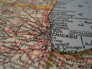 The map details Chicagoland and Northwest Indiana including towns and cities which are prospective sites for new casinos