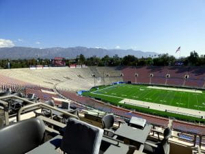The field and seating of the Rose Bowl which is among the most historic and famous football stadiums and located in Los Angeles, California