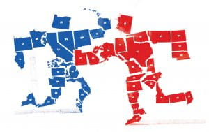 Red republican states grouped together to form a human figure fighting with blue democratic states grouped together and doing the same