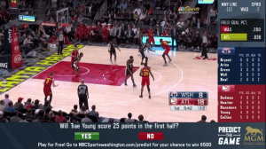 Screenshot of NBCS Washington Plus Predict the Game Telecast of Washington Wizards playing the Atlanta Hawks in State Farm Arena