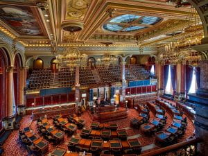 The interior of The House of Representatives in Des Moines, Iowa's State