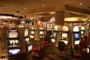 Inside a Las Vegas casino with Slot machines.