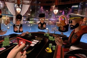 Four digital poker players online gambling via virtual reality