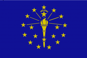 Flag of Indiana. A gold torch surrounded by an outer circle of thirteen stars, an inner semi circle of five stars, and a 19th, larger, star at the top of the torch, crowned by the word 'Indiana'