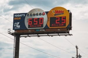Missouri billboard of the Power Ball and Megan Millions numbers