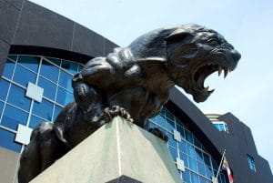 The Panther sculpture located outside Bank of America Stadium