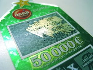A holiday themed Scratch Off ticket with a jackpot of 50,000 Euro to represent online scratch offs.