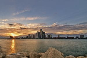 Sunset Detroit Michigan
