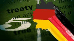 Flag of Germany on an agreement paper