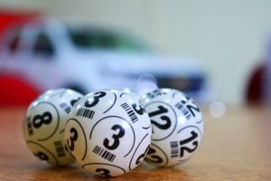 Lottery balls on a table
