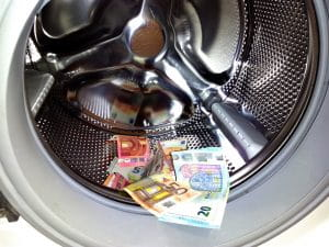 Money in a laundry machine