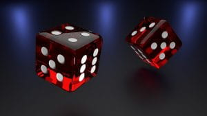 Two dices thrown in the air