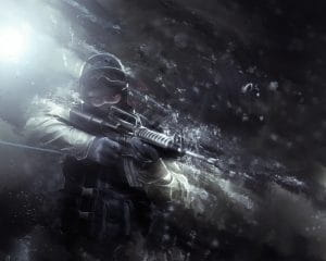 Poster of counter strike with a soldier