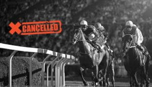 "Horse Race with Sign ""Cancelled"""