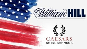 Caesars and William Hill Logos Next to the USA Flag