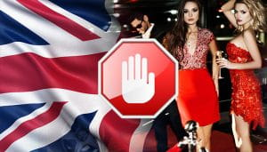 Red Carpet Celebrities Next to the UK Flag with a Stop Sign