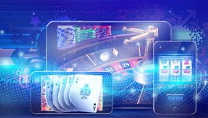 Diverse Mobile Devices with Different Casino Games on their Displays