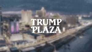 Trump Plaza Written Over a Blurry Shot of a Coastal Casino City