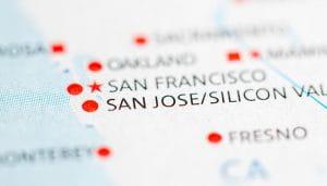 California San Jose Memperbesar Lokasi di Peta Negara Bagian