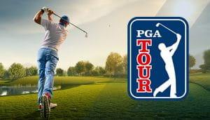 Logo PGA Tour Di sebelah Golfer yang sedang Beraksi